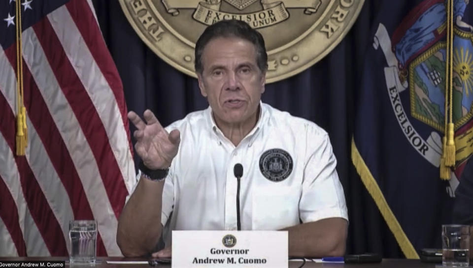 Governor Andrew Cuomo speaks during a Zoom-cast news briefing, Saturday Aug. 21, 2021, in New York. Cuomo declared a state of emergency for parts of the state and urged people to heed warnings, as the newly upgraded Hurricane Henri closed in on the Northeast. (NY Governor's Press Office via AP)