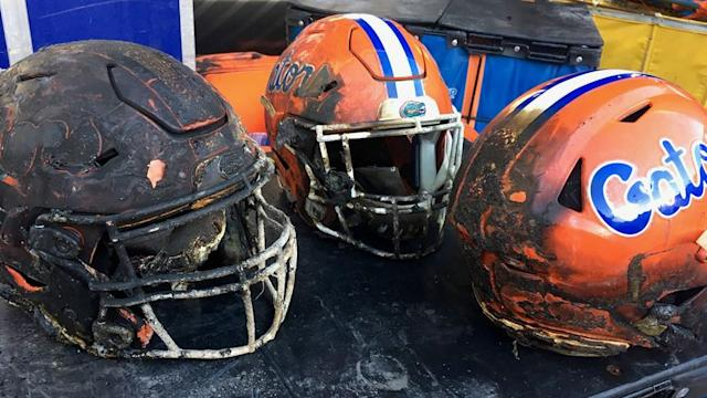 A look at fire damage caused to helmets the Gators used in Saturday night's win at Mississippi State  <span>(Photo: Donna Doty/University Athletic Association)</span>