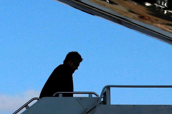 Steve Bannon boards Air Force One to return to Washington with President Trump from Philadelphia. (Photo: Jonathan Ernst/Reuters)