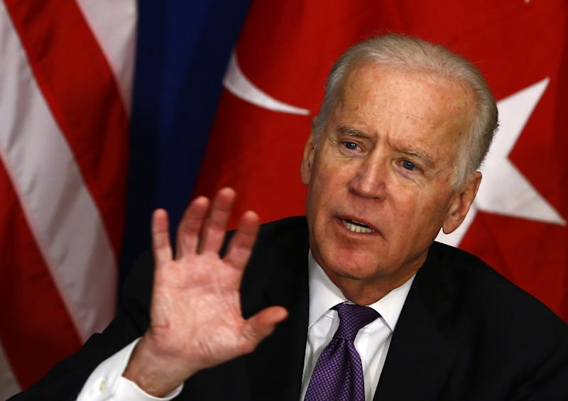 US Vice President Joe Biden gives a press conference following a meeting with representatives of the civil society in Istanbul, on January 22, 2016 (AFP Photo/Murat Sezer)