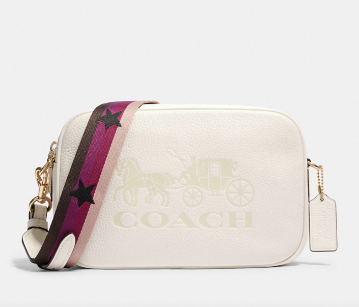 coach outlet white Jes Crossbody bag with pink striped strap with stars