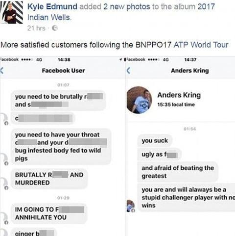 <span>Britain's Kyle Edmund shared some of the abuse he suffers on Facebook last year</span> <span>Credit: Facebook </span>