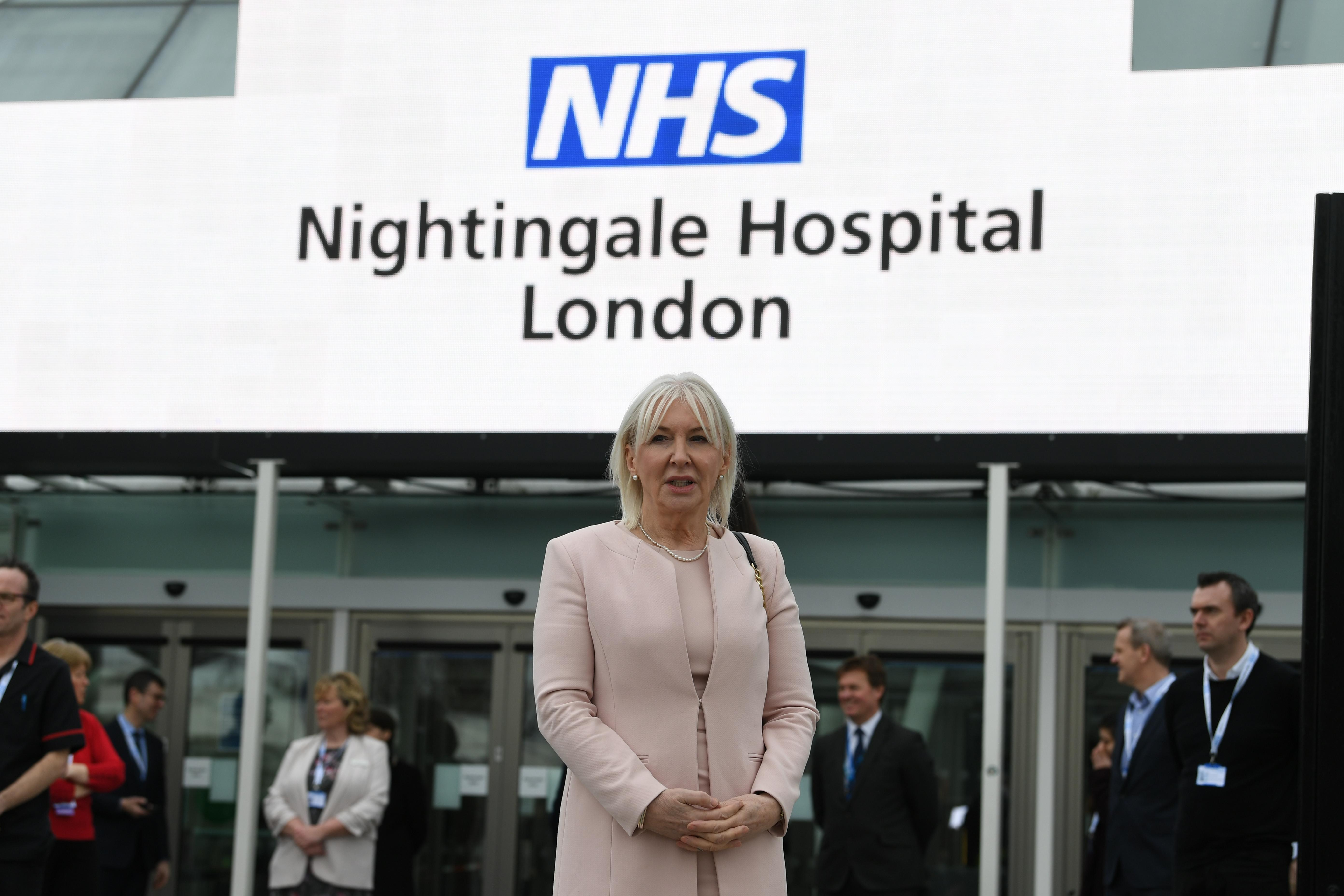 Health minister Nadine Dorries at the opening of the NHS Nightingale Hospital at the ExCel centre in London, a temporary hospital with 4000 beds which has been set up for the treatment of Covid-19 patients.