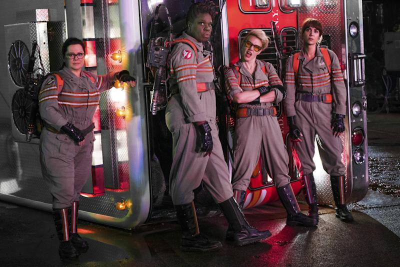 Melissa McCarthy, Leslie Jones, Kate McKinnon, and Kristen Wiig in 'Ghostbusters' - Credit: Sony Pictures