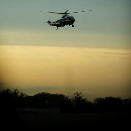U.S. President Donald Trump arrives aboard the Marine One to greet the remains of a U.S. military commando killed during a raid on the al Qaeda militant group in southern Yemen on Sunday, at Dover Air Force Base, Dover, Delaware, U.S. February 1, 2017. REUTERS/Jonathan Ernst