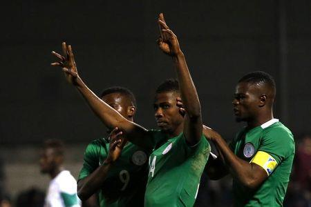 Nigeria's Kelechi Iheanacho celebrates scoring their first goal