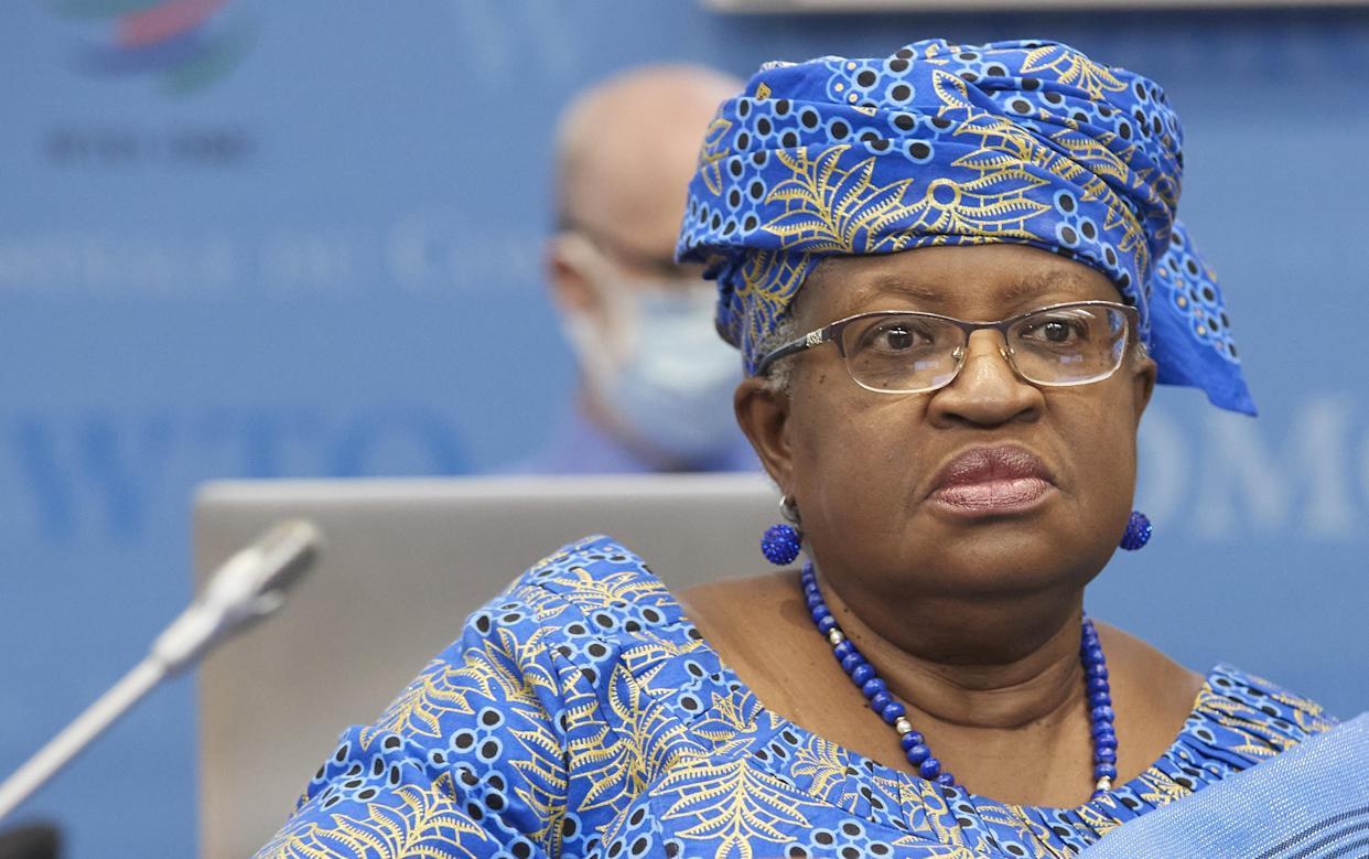 World Trade Organisation (WTO) Director-General Ngozi Okonjo-Iweala arrives for a WTO ministerial meeting to discuss a draft agreement on curbing subisidies for the fisheries industry at the WTO headquarters in Geneva, Switzerland, July 15, 2021. REUTERS/Denis Balibouse