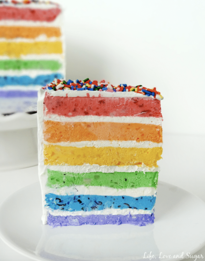 """<p>Each layer in this cake contains fresh fruit mashed in for an explosion of flavor with every bite.</p><p><strong>Get the recipe at <a href=""""https://www.lifeloveandsugar.com/skinny-rainbow-ice-cream-cake-with-fresh-fruit/"""" rel=""""nofollow noopener"""" target=""""_blank"""" data-ylk=""""slk:Life, Love and Sugar"""" class=""""link rapid-noclick-resp"""">Life, Love and Sugar</a>.</strong></p><p><strong><a class=""""link rapid-noclick-resp"""" href=""""https://go.redirectingat.com?id=74968X1596630&url=https%3A%2F%2Fwww.walmart.com%2Fsearch%2F%3Fquery%3Dpioneer%2Bwoman%2Bmixing%2Bbowls&sref=https%3A%2F%2Fwww.thepioneerwoman.com%2Ffood-cooking%2Fmeals-menus%2Fg35269814%2Fst-patricks-day-desserts%2F"""" rel=""""nofollow noopener"""" target=""""_blank"""" data-ylk=""""slk:SHOP MIXING BOWLS"""">SHOP MIXING BOWLS</a><br></strong></p>"""