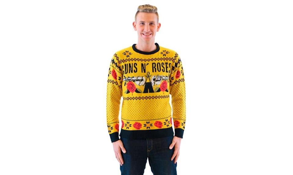 """<p>You say you want your Christmas sweater to honor great music, and feature an extra helping of ugly? This one's mustard yellow. <strong><a rel=""""nofollow noopener"""" href=""""https://jet.com/product/detail/8d9f8d157120440da72601138b0d2407?jcmp=pla:ggl:nj_dur_gen_mens_clothing_shoes_accessories_a2:mens_clothing_shoes_accessories_mens_clothing_mens_sweaters_a2:na:PLA_791096394_48083769504_pla-294065858153_c:na:na:na:2PLA15&code=PLA15&pid=kenshoo_int&c=791096394&is_retargeting=true&clickid=874feb70-114b-43b8-98a2-caa504585eed&gclid=EAIaIQobChMIkryEq-LS1wIVF8JkCh0s2w_OEAkYDCABEgILRvD_BwE"""" target=""""_blank"""" data-ylk=""""slk:Buy here"""" class=""""link rapid-noclick-resp"""">Buy here</a></strong> </p>"""