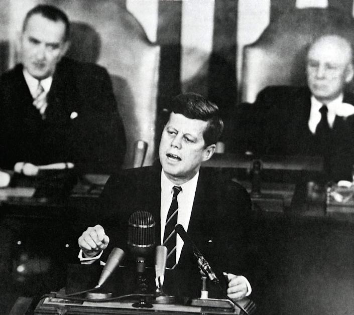 """John F. Kennedy examined several elements of the American creed in a 1946 speech. <span class=""""copyright"""">(NASA / EPA)</span>"""