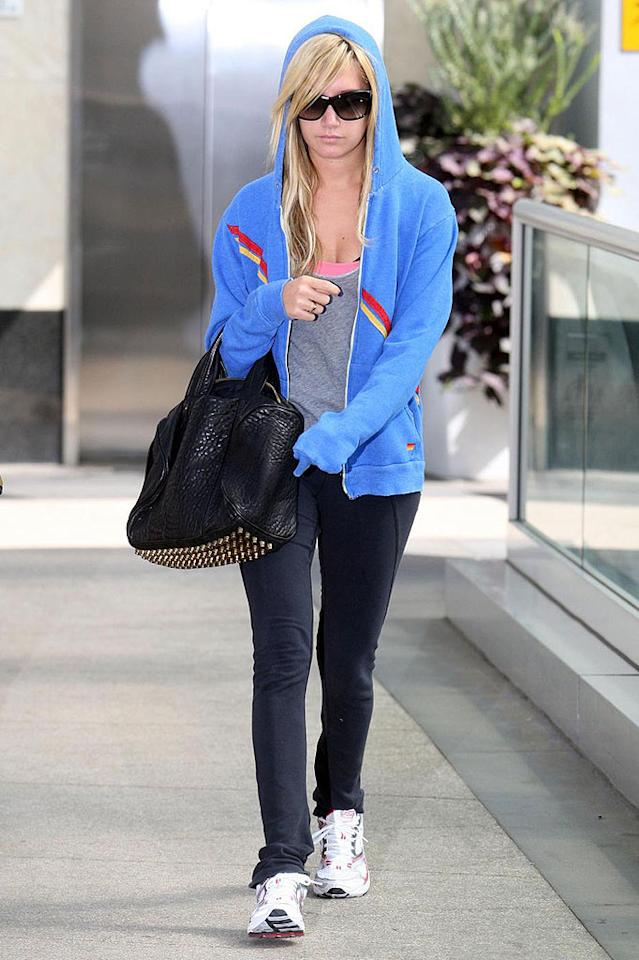 """High School Musical's"" Ashley Tisdale reserves hoods for the days she hits the gym. Matt Symons/<a href=""http://www.pacificcoastnews.com/"" target=""new"">PacificCoastNews.com</a> - October 5, 2009"