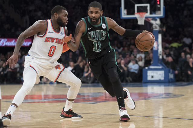 "<a class=""link rapid-noclick-resp"" href=""/nba/players/4840/"" data-ylk=""slk:Kyrie Irving"">Kyrie Irving</a> received a raucous welcome at Madison Square Garden from <a class=""link rapid-noclick-resp"" href=""/nba/teams/new-york/"" data-ylk=""slk:Knicks"">Knicks</a> fans who hope he joins them this summer. (AP Photo/Mary Altaffer)"