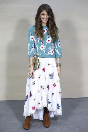 French actress Elisa Sednaoui poses during a photocall before the German designer Karl Lagerfeld Spring/Summer 2015 women's ready-to-wear collection show for French fashion house Chanel during Paris Fashion Week September 30, 2014. REUTERS/Charles Platiau (