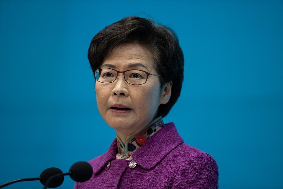 Carrie Lam speaks during a press conference in Hong Kong. (EPA-EFE)