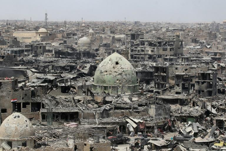 This photo taken on July 9, 2017 shows a general view of the destruction in Mosul's Old City