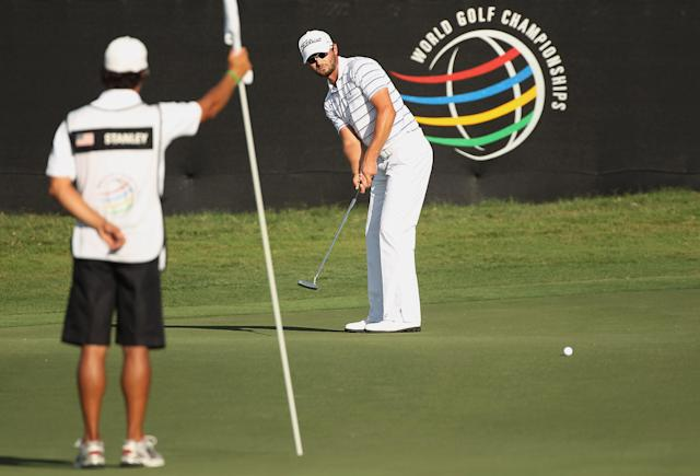 MIAMI, FL - MARCH 10: Kyle Stanley hits a putt on the 18th green during the third round of the World Golf Championships-Cadillac Championship on the TPC Blue Monster at Doral Golf Resort And Spa on March 10, 2012 in Miami, Florida.