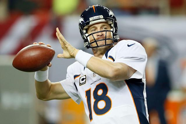 ATLANTA, GA - SEPTEMBER 17: Quarterback Peyton Manning #18 of the Denver Broncos warms up prior to their game against the Atlanta Falcons at the Georgia Dome on September 17, 2012 in Atlanta, Georgia. (Photo by Kevin C. Cox/Getty Images)