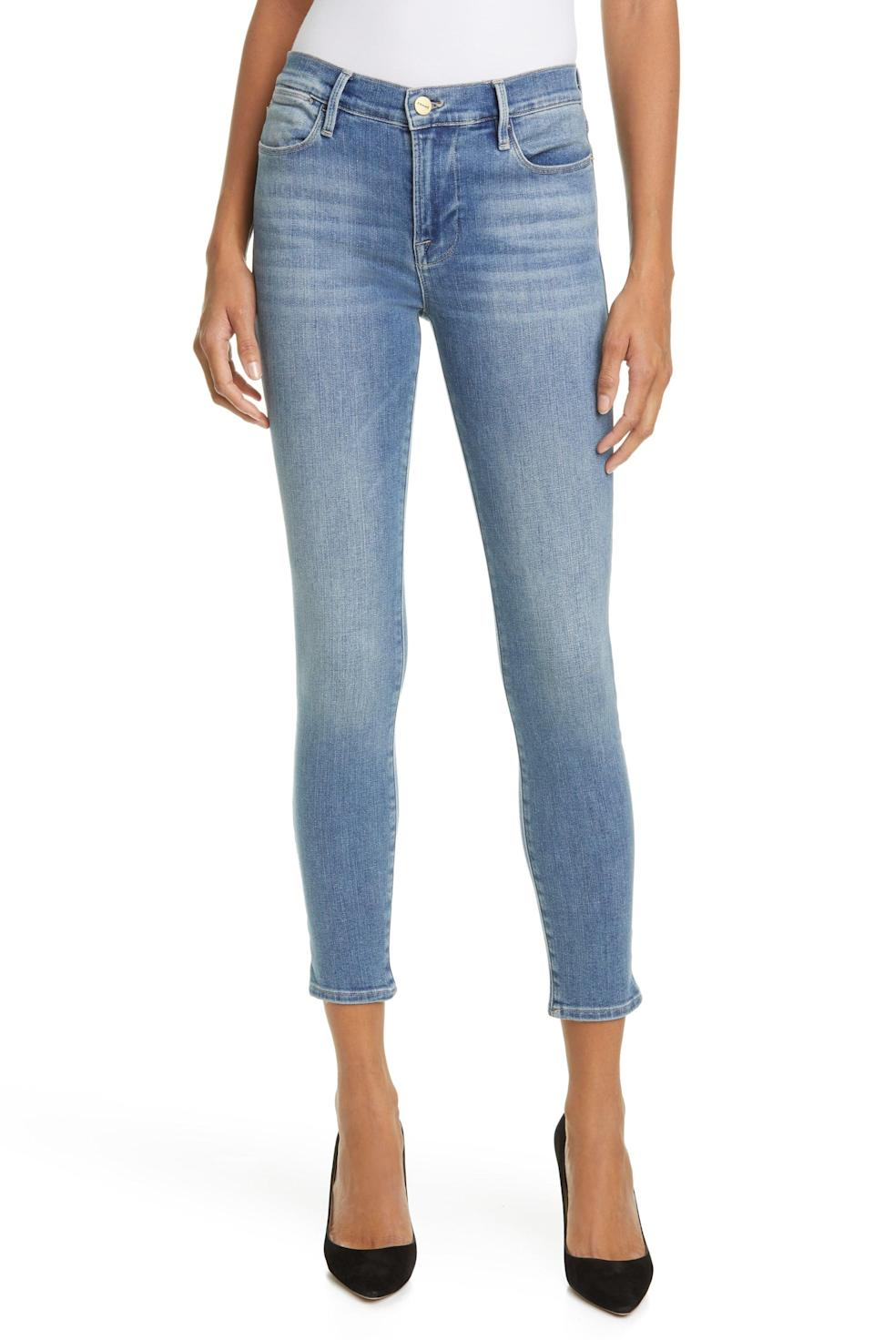 """<p>""""These <span>Frame Le High Ankle Skinny Jeans</span> ($215) are the jeans I've dreamed of in my head. They're super flattering, super stretchy, and super comfortable. They go with everything, and almost feel like leggings, but really hold up. I can't recommend them enough."""" - IY</p>"""