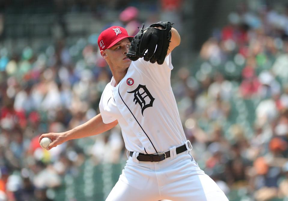 Detroit Tigers starter Matt Manning pitches against the Chicago White Sox during the second inning at Comerica Park in Detroit, Sunday, July 4, 2021.