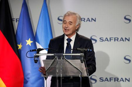 Safran Chief Executive Philippe Petitcolin speaks at aircraft engine maker's Safran site ahead of the signing of the first contracts for joint multi-billion euros programme to develop a next-generation combat jet in Gennevilliers, France, February 6, 2019.  REUTERS/Benoit Tessier