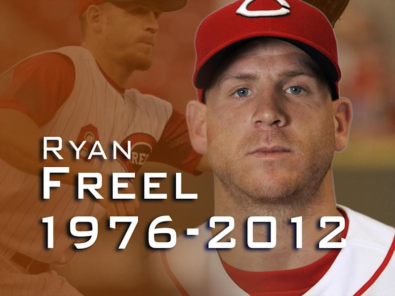 RYAN FREEL, as Cincinnati Reds outfielder, with 1976-2012 lettering on texture, finished graphic