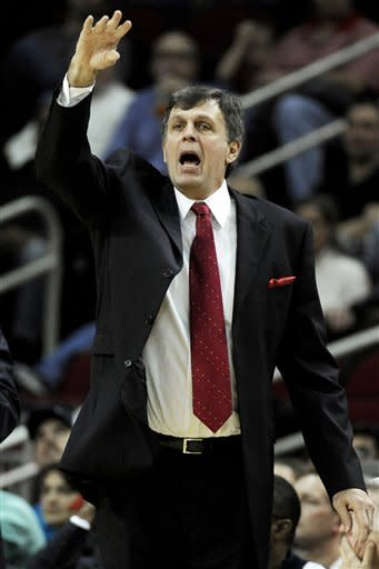 Houston Rockets coach Kevin McHale yells to his players in the second half of an NBA basketball game against the Minnesota Timberwolves, Monday, Jan. 30, 2012, in Houston. Minnesota won 120-108. (AP Photo/Pat Sullivan)