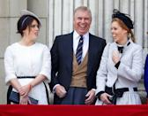<p>Goofing around with their father at the annual Trooping the Colour celebration. </p>