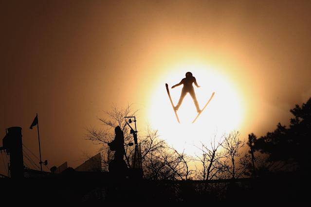 PYEONGCHANG-GUN, SOUTH KOREA – FEBRUARY 22: A ski jumper competes during the Nordic Combined Ski Jumping Competition. (Getty Images)