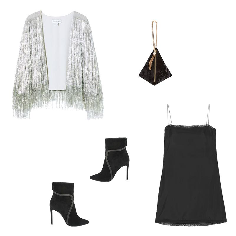 """<a rel=""""nofollow"""" href=""""https://shoprachelzoe.com/shop/ready-to-wear/core/isla-metallic-fringed-cardigan/?attribute_pa_color=plat"""">Isla Metallic Fringe Cardigan In Platinum, Rachel Zoe, $525<p>Start with the simple foundation of a featherweight slip dress and ankle boots, then throw a metallic cardigan over your shoulders for festive flair and extra coverage. Keep jewelry to a minimum and stash your essentials in a plush pouch.</p> </a><a rel=""""nofollow"""" href=""""https://rstyle.me/~ae0B0"""">Lace-Trimmed Satin Mini Dress, Prada, $600<p>Start with the simple foundation of a featherweight slip dress and ankle boots, then throw a metallic cardigan over your shoulders for festive flair and extra coverage. Keep jewelry to a minimum and stash your essentials in a plush pouch.</p> </a><a rel=""""nofollow"""" href=""""https://click.linksynergy.com/deeplink?id=30KlfRmrMDo&mid=1237&murl=https%3A%2F%2Fshop.nordstrom.com%2Fs%2Fstreet-level-triangle-clutch%2F4759643%3Forigin%3Dcategory-personalizedsort%26fashioncolor%3DBLACK"""">Triangle Clutch, Street Level, $35<p>Start with the simple foundation of a featherweight slip dress and ankle boots, then throw a metallic cardigan over your shoulders for festive flair and extra coverage. Keep jewelry to a minimum and stash your essentials in a plush pouch.</p> </a><a rel=""""nofollow"""" href=""""https://shoprachelzoe.com/shop/footwear/liana-suede-stiletto-ankle-boots/?attribute_pa_color=blk"""">Liana Suede Stiletto Ankle Boots, Rachel Zoe, $398<p>Start with the simple foundation of a featherweight slip dress and ankle boots, then throw a metallic cardigan over your shoulders for festive flair and extra coverage. Keep jewelry to a minimum and stash your essentials in a plush pouch.</p> </a>"""