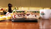 """<p>You'll soon see why Ross is obsessed with Monica's <a href=""""https://www.delish.com/cooking/recipe-ideas/a25103566/thanksgiving-sandwich-recipe/"""" rel=""""nofollow noopener"""" target=""""_blank"""" data-ylk=""""slk:Thanksgiving leftover sandwich"""" class=""""link rapid-noclick-resp"""">Thanksgiving leftover sandwich</a>. He calls it that because of the extra piece of gravy soaked bread in the middle and it really takes this sandwich over the top.</p><p>Get the recipe from <a href=""""https://www.delish.com/holiday-recipes/thanksgiving/a29626789/friends-moist-maker-sandwich-recipe/"""" rel=""""nofollow noopener"""" target=""""_blank"""" data-ylk=""""slk:Delish"""" class=""""link rapid-noclick-resp"""">Delish</a>.</p>"""