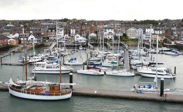 The harbour area in West Cowes on the Isle of Wight