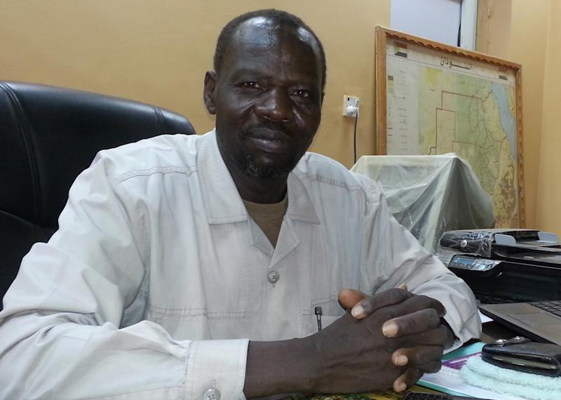 Kori Elramla Kori Kuku, general secretary of the Sudan Council of Churches, is pictured in his office in Khartoum on July 23, 2014 (AFP Photo/)