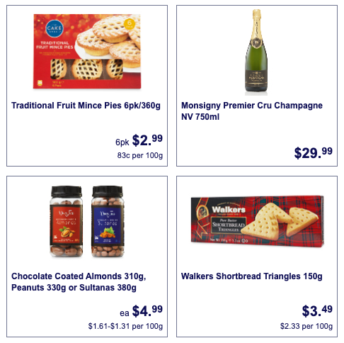 Fruit mince pies, champagne, chocolate-coated nuts and shortbread on sale at Aldi.