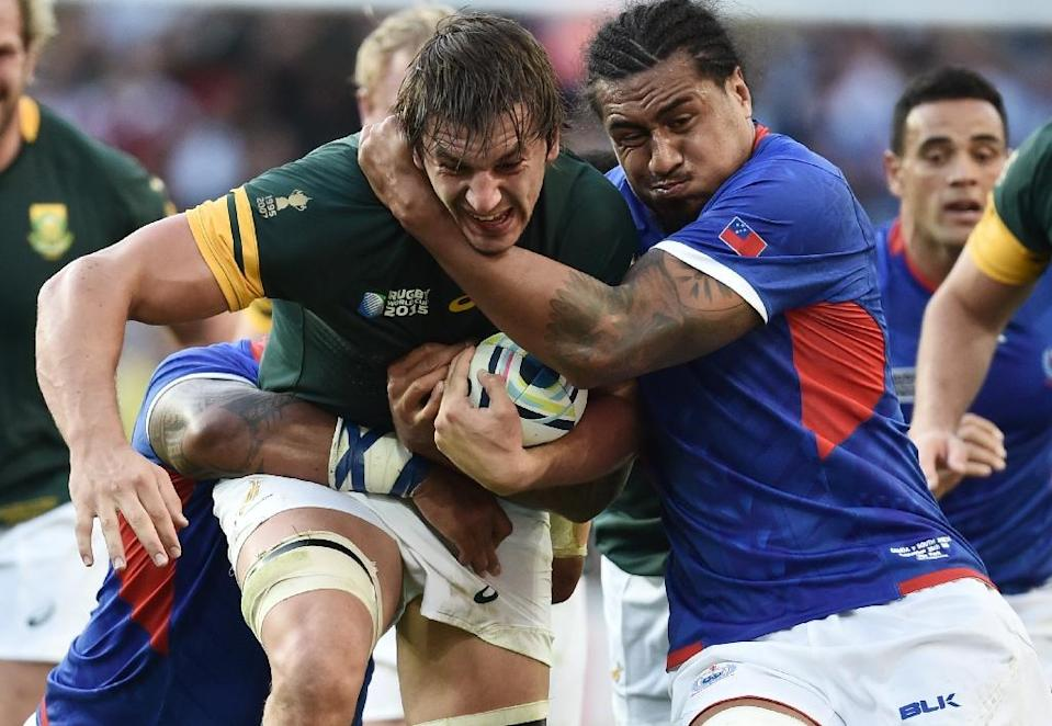 South Africa's lock Eben Etzebeth (L) went to hospital for x-rays after the Samoa match adding to a long list of team injuries (AFP Photo/Bertrand Langlois)