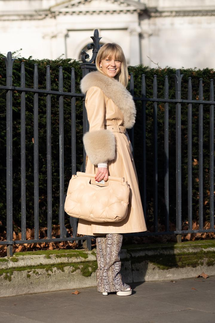 <p>Jeanette Friis Madsen was spotted in a super chic coat that is now at the top of our wish list. <em>[Photo: Getty]</em> </p>
