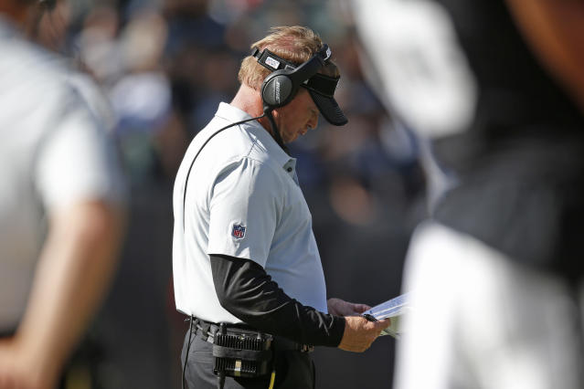 Oakland Raiders head coach Jon Gruden stands on the sidelines during the second half of an NFL football game Sunday, Sept. 15, 2019, in Oakland, Calif. Kansas City won the game 28-10. (AP Photo/D. Ross Cameron)