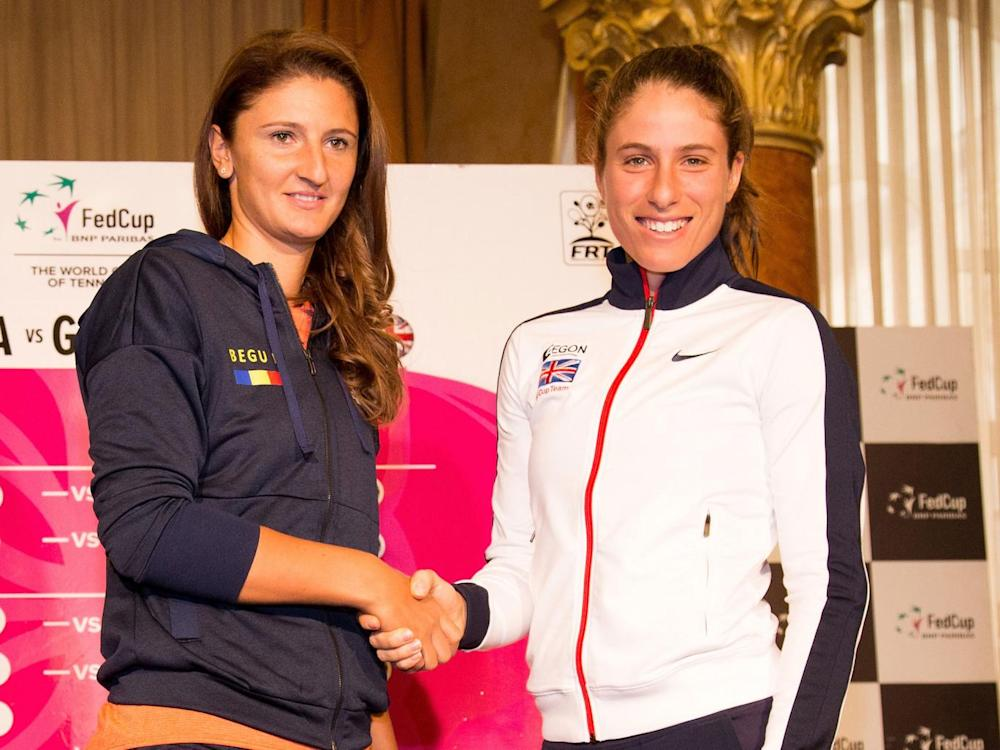 Johanna Konta and Romania's Irina-Camelia Begu together before Saturday's matches (Getty)