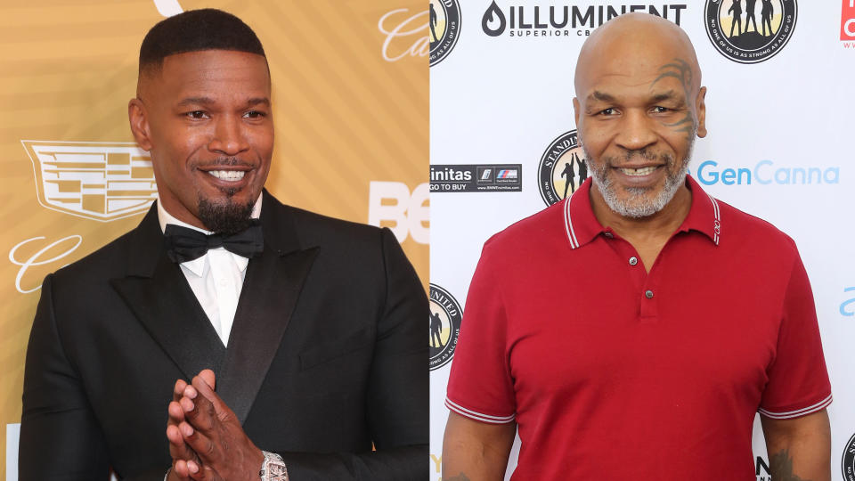 Jamie Foxx will play Mike Tyson in a biopic. (Credit: Leon Bennett/WireImage/Willy Sanjuan/Invision/AP)