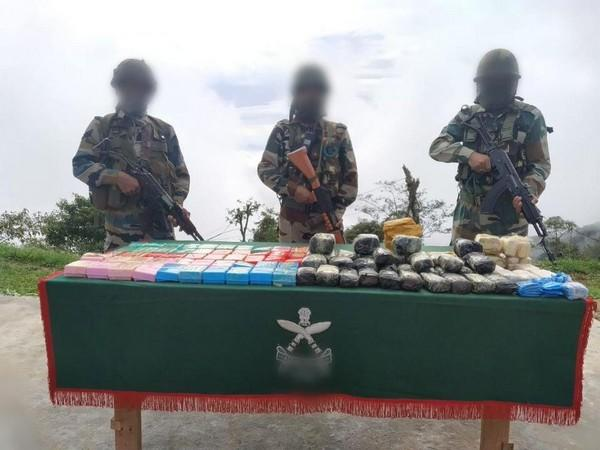Drugs worth Rs 6.4 crore seized by Assam Rifles in Assam. [Photo/ANI]