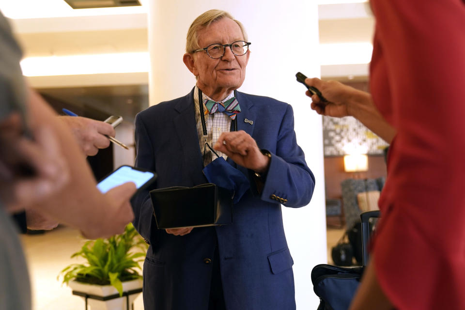 University of West Virginia President Gordon Gee speaks to reporters after the College Football Playoff presidents group meeting Tuesday, June 22, 2021, in Grapevine, Texas. The CFP presidents group met to discuss a proposed plan to expand the postseason format from four to 12 teams. (AP Photo/LM Otero)