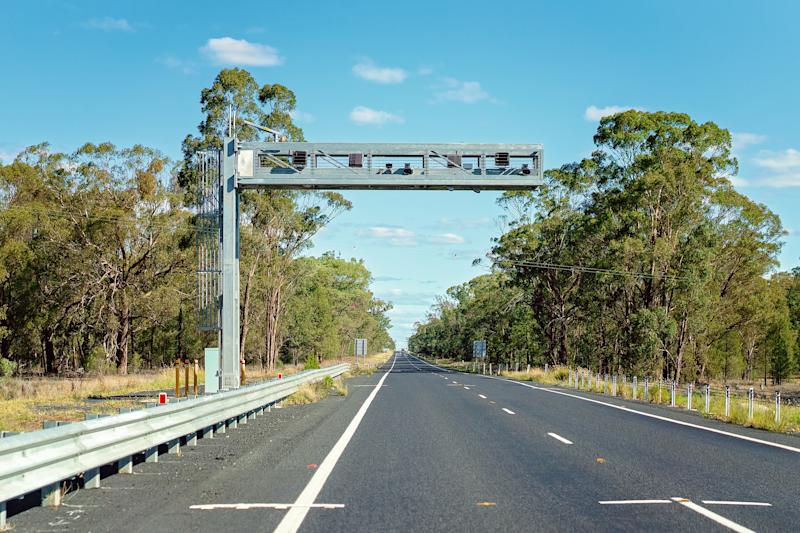 Picture of speed cameras overhanging the highway in Australia.