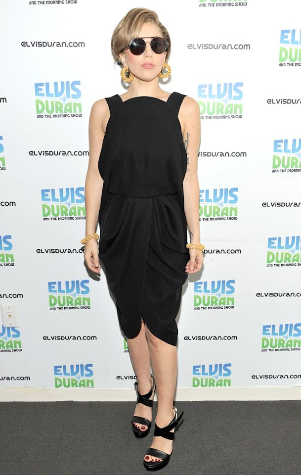 <b>Who:</b> Lady Gaga<br /><br /><b>Wearing:</b> Balenciaga LBD, Ruthie Davis sandals, Tom Ford shades<br /><br /><b>Where:</b> Visiting the Z100 studio in NYC