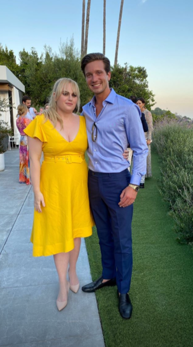 Rebel Wilson and Jacob Busch at Jacob Andreou's wedding to British TV star Carly Steel in Beverly Hills