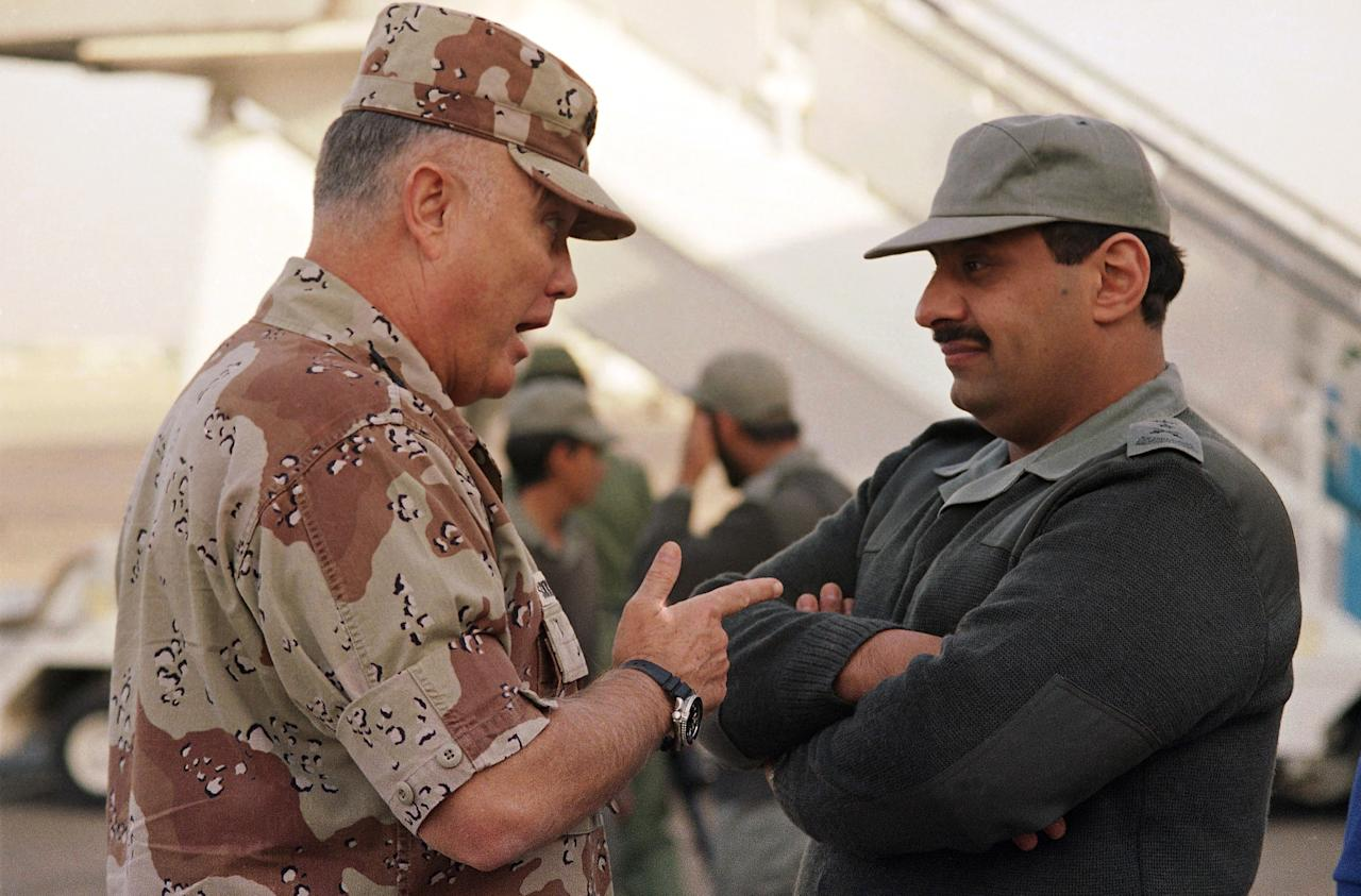 FILE - In this Dec. 19, 1990 file photo, Gen. Norman Schwarzkopf, commander of U.S. forces in the Gulf, left, confers with Saudi Arabian Lt. Gen. Khalid Bin Sultan, commander of multinational forces in the area, in Riyadh. Schwarzkopf died Thursday, Dec. 27, 2012 in Tampa, Fla. He was 78. (AP Photo/Peter Dejong, File)