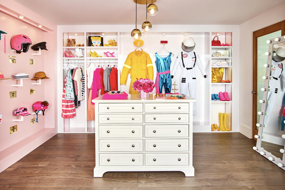 Barbie's spacious dressing room includes a space suit. (Photo: Courtesy of Mattel)