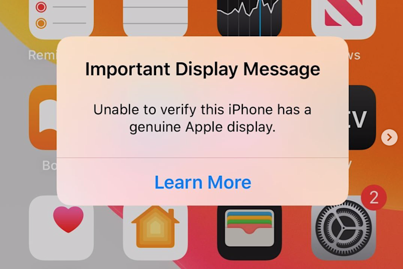 The error message seen when a third party screen is installed on new iPhones
