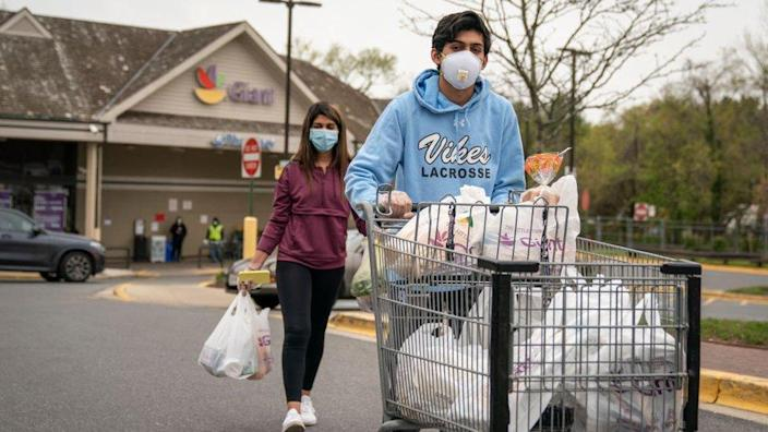 People buying groceries in Maryland
