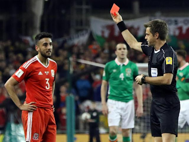 Neil Taylor was shown a red card for the challenge on Coleman (Getty)