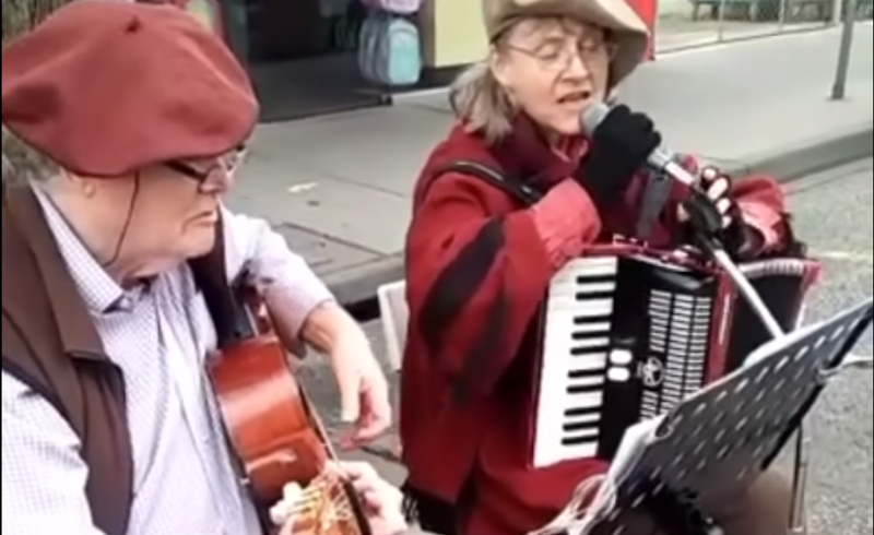 The elderly Australian couple looked in their element as they effortlessly performed 'Getaran Jiwa' on the streets of Melbourne. — Screengrab via Facebook/ ERA (Malaysia).