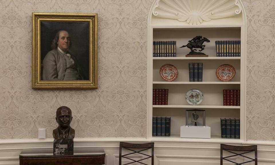 A bust of former President Harry Truman.